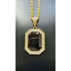 "Other - 18k Gold Square Ruby Pendant Necklace 24"" Chain"